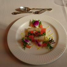 前菜、魚介と野菜のジュレ