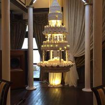宙に浮いたケーキ。ケーキカットの演出。