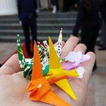 折り鶴もフラワーシャワーで使用しました。