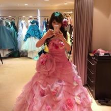 ピンクのお花カラードレス