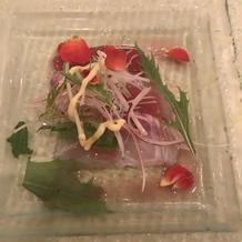 マグロと鯛で紅白のカルパッチョ