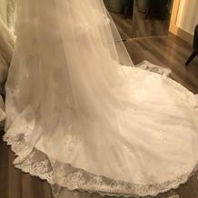 裾のかわいいドレスとロングベール。