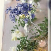装花は青と黄色をテーマカラーにしました。
