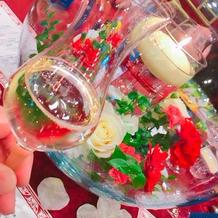 装花とテーブルクロス