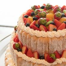 3段のケーキは見栄えがよかった。