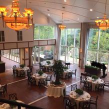 披露宴会場です。天井が高く階段もあります